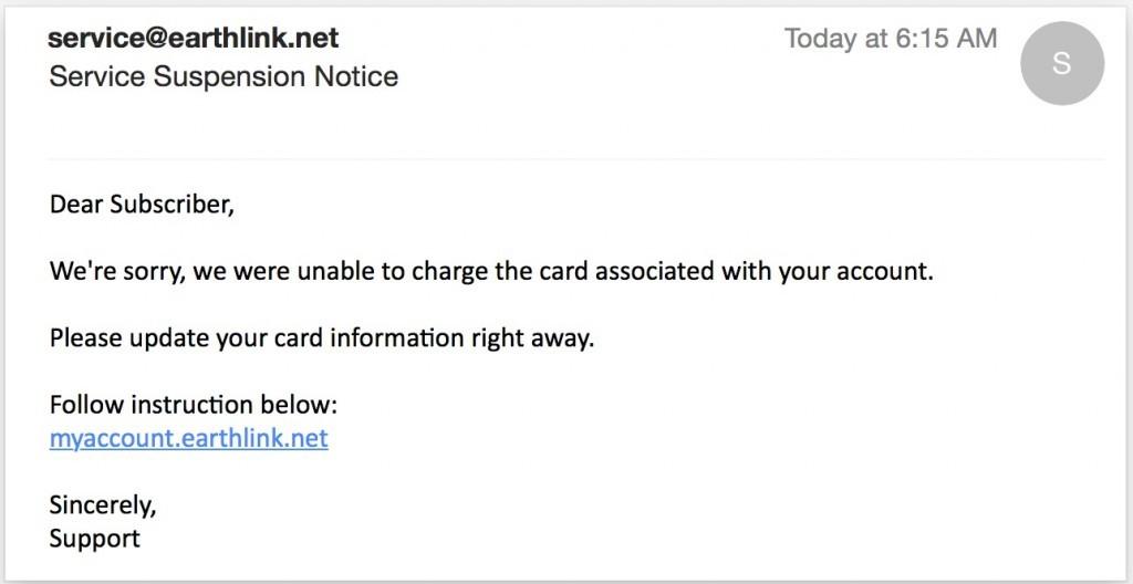 fraudulent/phishing email
