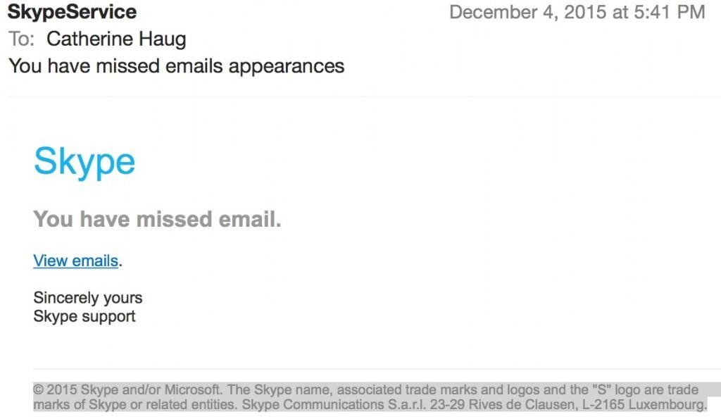 fraudulent email Skype